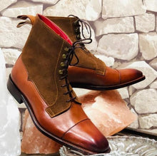 Load image into Gallery viewer, Awesome Handmade Men's Brown Leather Suede Cap Toe Lace Up Boots, Men Ankle Boots, Men Fashion Boots