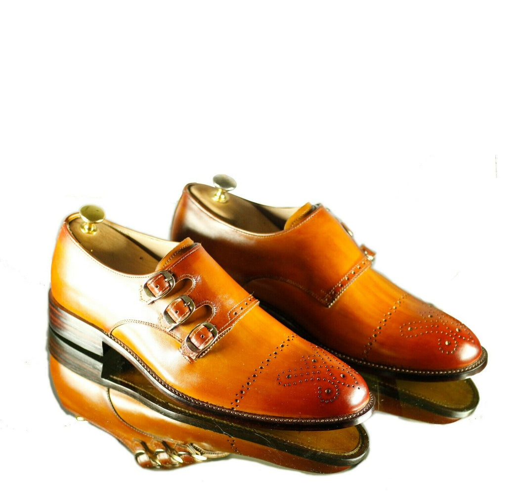 Handmade Men's Tan Leather Cap Toe Brogue Shoes, Men Triple Monk Strap Dress Formal Shoes