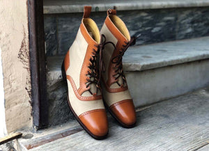 Handmade Men's Beige Brown Leather Suede Cap Toe Lace Up Boots, Men Ankle Boots, Men Fashion Boots
