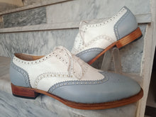 Load image into Gallery viewer, Handmade Men's White Gray Leather Wing Tip Brogue Lace Up Shoes, Men Dress Formal Shoes
