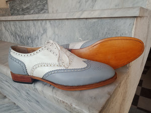 Handmade Men's White Gray Leather Wing Tip Brogue Lace Up Shoes, Men Dress Formal Shoes