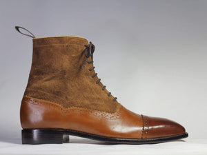 New Handmade Men's Brown Leather Suede Cap Toe Lace Up Boots, Men Ankle Boots, Men Fashion Boots