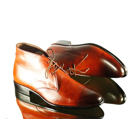 Handmade Men's Burgundy Leather Chukka Lace Up Boots, Men Ankle Boots, Men Fashion Boots