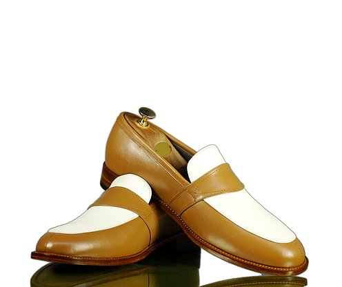 Elegant Handmade Men's Tan White Leather Penny Loafers, Men Dress Fashion Driving Shoes