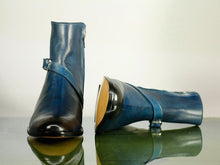 Load image into Gallery viewer, Awesome Handmade Men's Blue Leather Jodhpur Strap Boots, Men Ankle Boots, Men Fashion Boots
