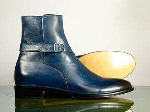 Awesome Handmade Men's Blue Leather Jodhpur Strap Boots, Men Ankle Boots, Men Fashion Boots