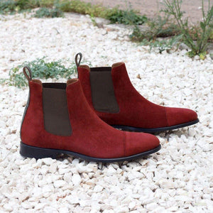 Stylish Handmade Men's Maroon Suede Chelsea Cap Toe Boots, Men Ankle Boots, Men Fashion Boots