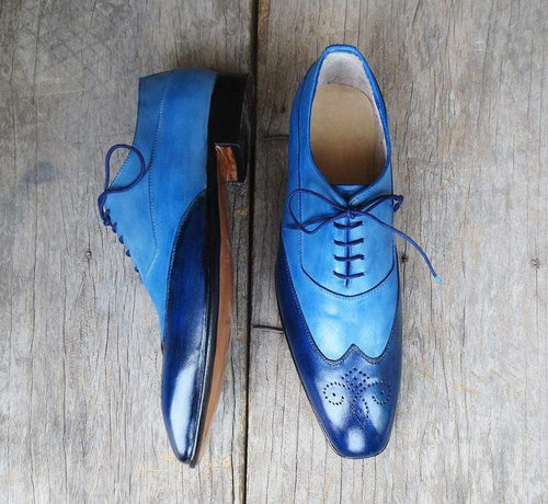 Elegant Handmade Men's 2 Tone Blue Leather Wing Tip Brogue Lace Up Shoes, Men Dress Formal Shoes
