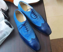Load image into Gallery viewer, Elegant Handmade Men's 2 Tone Blue Leather Wing Tip Brogue Lace Up Shoes, Men Dress Formal Shoes