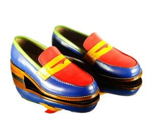 Handmade Men's Multicolor Leather Slipper Party Loafer Shoes, Men Dress Moccasin Shoes
