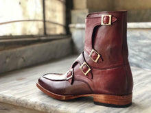 Load image into Gallery viewer, New Handmade Men's Burgundy Leather Buckles Boots, Men Ankle Boots, Men Fashion Boots
