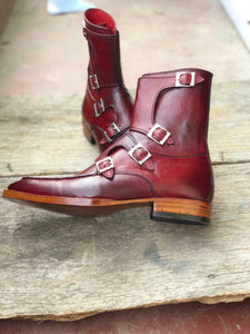 New Handmade Men's Burgundy Leather Buckles Boots, Men Ankle Boots, Men Fashion Boots
