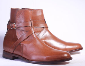 Stylish Handmade Men's Brown Leather Jodhpur Strap Boots, Men Ankle Boots, Men Fashion Boots