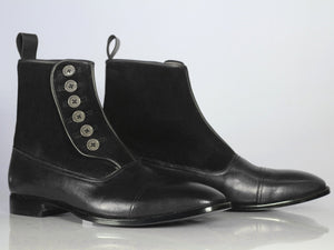 Handmade Men's Black Leather Suede Cap Toe Button Boots, Men Ankle Boots, Men Fashion Boots