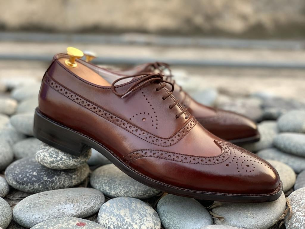 Stylish Handmade Men's Brown Wing Tip Brogue Leather Lace Up Shoes, Men Designer Dress Formal Shoes