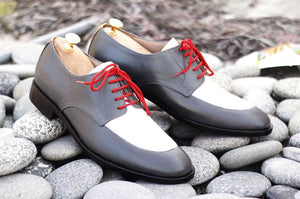 Awesome Handmade Men's Gray White Leather Shoes, Men Lace up Designer Dress Formal Shoes