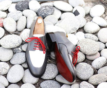 Load image into Gallery viewer, Awesome Handmade Men's Gray White Leather Shoes, Men Lace up Designer Dress Formal Shoes