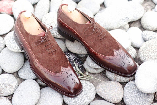 Elegant Handmade Men's Brown Leather Suede Wing Tip Brogue Shoes, Men Dress Formal Lace Up Shoes