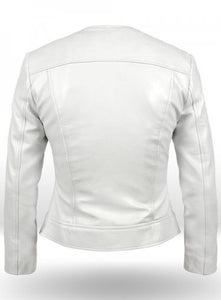 New Stylish Celebrity Leather White Jacket For Women, Ladies' Leather Jacket - theleathersouq