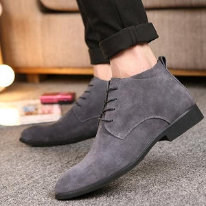 Elegant Handmade Gray Color Suede Boots, Men's Fashion Chukka Lace Up Boots - theleathersouq