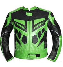 Load image into Gallery viewer, New Stylish Black & Green Color Racing Motorcycle Armour Leather Jacket For Men - theleathersouq