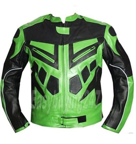 New Stylish Black & Green Color Racing Motorcycle Armour Leather Jacket For Men - theleathersouq