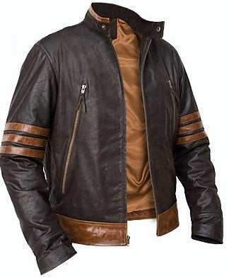 X-Men Origins Wolverine Black & Brown Leather Jacket, Men's Leather Jacket - theleathersouq
