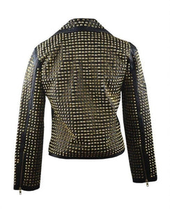 Awesome Woman Black Full Golden Studded Stylish Leather Jacket, Ladies Cowhide Leather Jacket