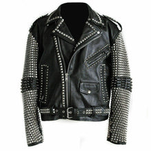 Load image into Gallery viewer, Awesome Mens Black Punk Silver Spiked Studded Real Leather Fashion Jacket