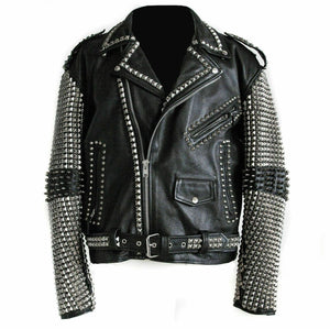 Awesome Mens Black Punk Silver Spiked Studded Real Leather Fashion Jacket