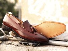 Load image into Gallery viewer, Awesome Handmade Men's Brown Leather Split Toe Tassel Loafers, Men Dress Formal Shoes