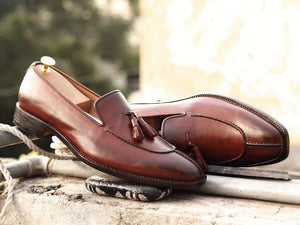Awesome Handmade Men's Brown Leather Split Toe Tassel Loafers, Men Dress Formal Shoes