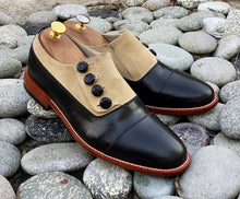 Load image into Gallery viewer, Elegant Handmade Men's Black Beige Leather Suede Cap Toe Button Shoes, Men Dress Formal Shoes