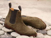 Load image into Gallery viewer, Awesome Handmade Men's Brown Suede Chelsea Boots, Men Ankle Boots, Men Designer Boots