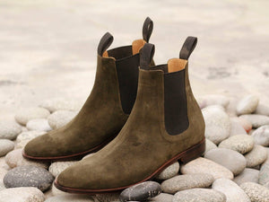 Awesome Handmade Men's Brown Suede Chelsea Boots, Men Ankle Boots, Men Designer Boots