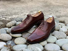 Load image into Gallery viewer, Awesome Men's Brown Handmade Wing Tip Brogue Leather Shoes, Men Goodyear Welted Lace up Designer Shoes