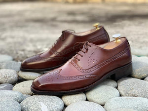 Awesome Men's Brown Handmade Wing Tip Brogue Leather Shoes, Men Goodyear Welted Lace up Designer Shoes