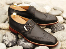 Load image into Gallery viewer, Awesome Handmade Men's Black Leather Wing Tip Brogue Monk Strap Shoes, Men Goodyear Welted Dress Formal Shoes