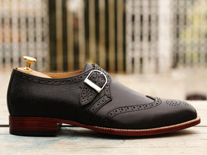 Awesome Handmade Men's Black Leather Wing Tip Brogue Monk Strap Shoes, Men Goodyear Welted Dress Formal Shoes