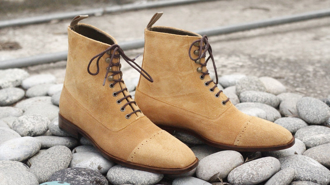 Awesome New Handmade Men's Beige Suede Cap Toe Designer Boots, Men Fashion Ankle Boots