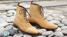 Load image into Gallery viewer, Awesome New Handmade Men's Beige Suede Cap Toe Designer Boots, Men Fashion Ankle Boots