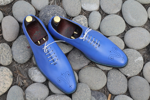 Elegant Handmade Men's Blue Leather Brogue Toe Shoes, Men Goodyear Welted Dress Formal Shoes