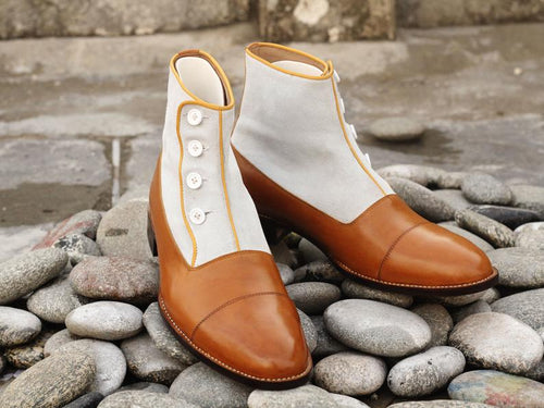 Elegant Handmade Men's Tan White Leather Suede Cap Toe Button Boots, Men Ankle Fashion Boots