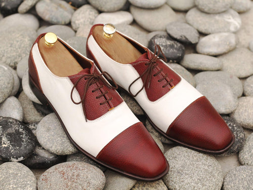 Elegant Handmade Men's Burgundy White Leather Cap Toe Lace Up Shoes, Men Dress Formal Luxury Shoes
