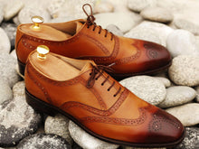 Load image into Gallery viewer, Awesome Men's Handmade Tan Brown Leather Wing Tip Brogue Lace Up Shoes, Men Dress Formal Shoes