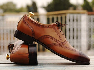 Awesome Men's Handmade Tan Brown Leather Wing Tip Brogue Lace Up Shoes, Men Dress Formal Shoes