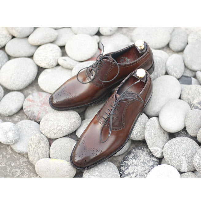 Awesome Handmade Men's Brown Leather Brogue Toe American Luxury Shoes, Men Dress Formal Lace Up Shoes