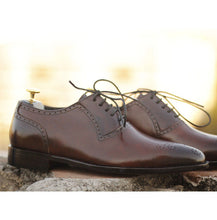 Load image into Gallery viewer, Awesome Handmade Men's Brown Leather Brogue Toe American Luxury Shoes, Men Dress Formal Lace Up Shoes