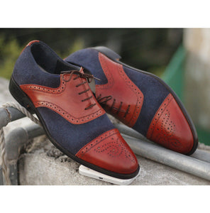 Awesome Handmade Men's Burgundy Leather Navy Blue Suede Cap Toe Brogue Shoes, Men Dress Formal Lace Up Shoes