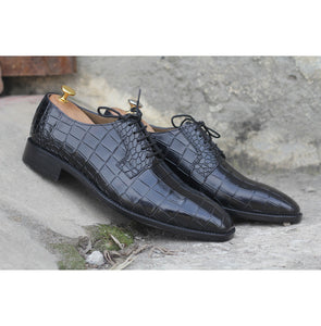 Awesome Handmade Men's Black Alligator Textured Leather Shoes, Men Dress Formal Lace Up Shoes